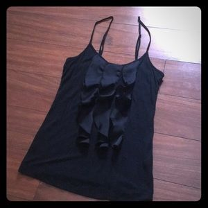 Black cami with ruffles